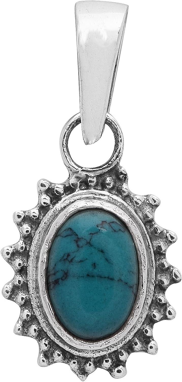 Shine Jewel Colgante hecho a mano de plata de ley 925 con piedras preciosas de turquesa azul. para unisex-adulto Oval Turquesa Blanco