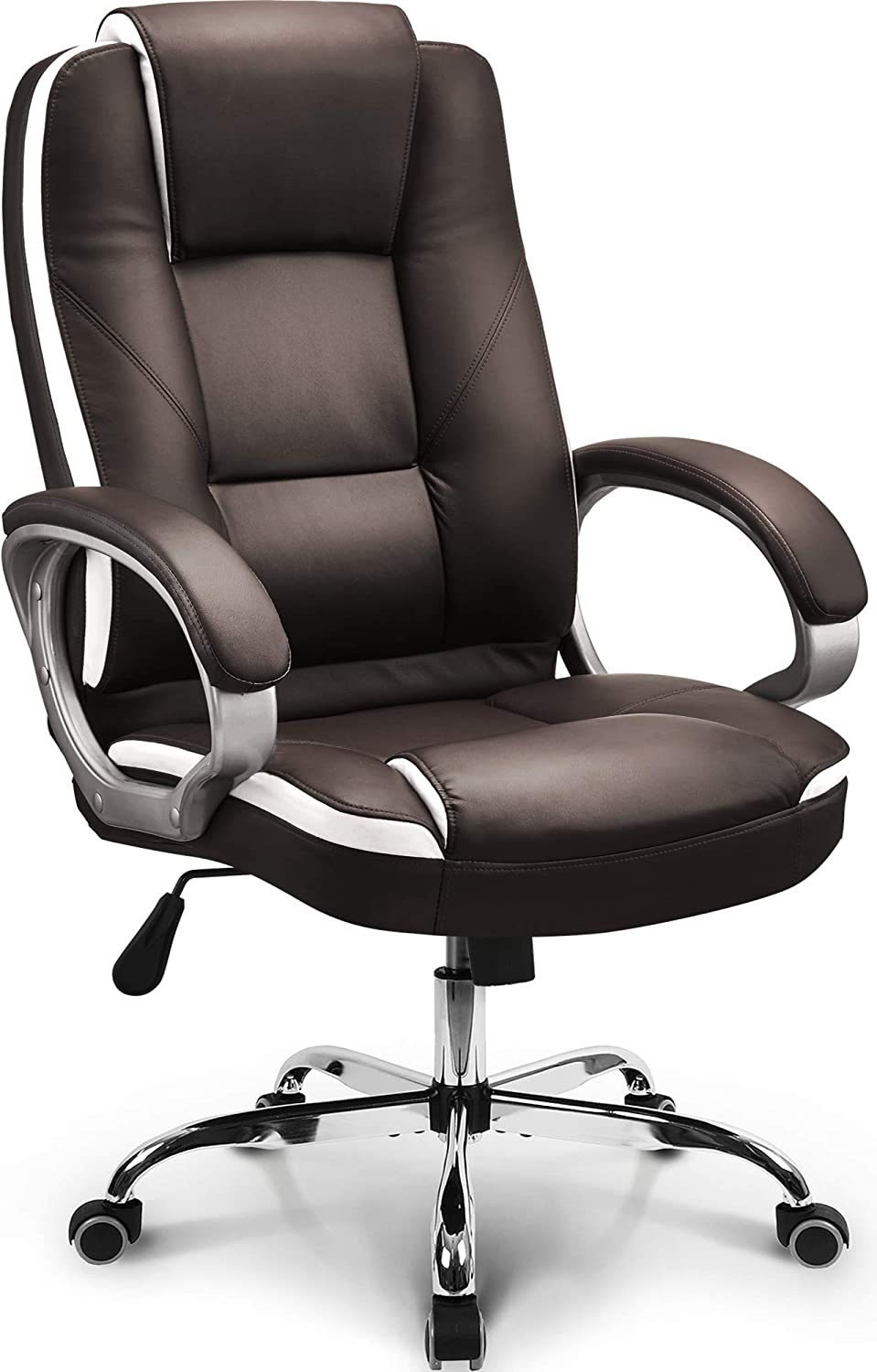 Amazon Com Neo Chair Office Chair Computer Desk Chair Gaming Ergonomic High Back Cushion Lumbar Support With Wheels Comfortable Brown Leather Racing Seat Adjustable Swivel Rolling Home Executive Kitchen Dining
