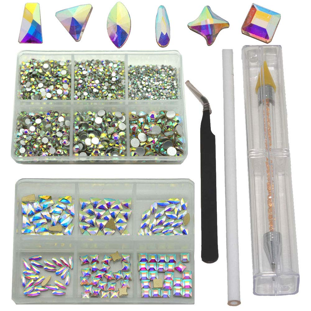 Queenme K9 Glass Crystal AB Nail Rhinestones 4500pcs+144pcs Small Flatback Crystals Mix Sizes Gems Stones Decorations Set, Especially for Nails Design by Queenme