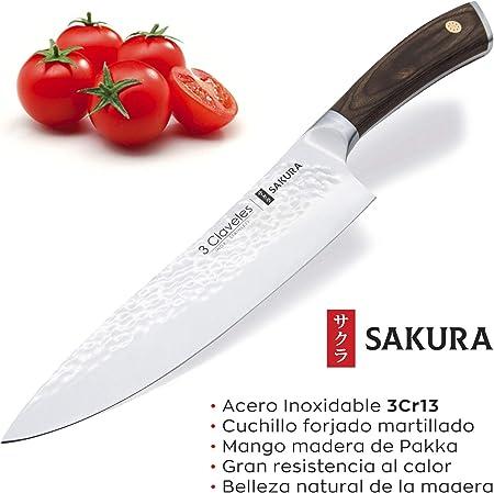 3 Claveles Juego de 5 Cuchillos Profesionales con Hoja Martilleada, Gama Sakura, Selección Master Chef, Incluye Pinzas para Sushi