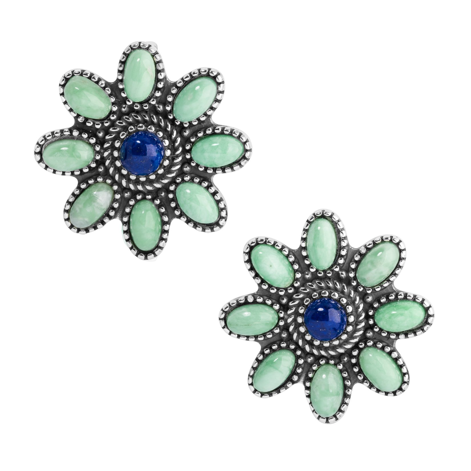 Sterling Silver, Variscite, & Lapis Clip Flower Earrings
