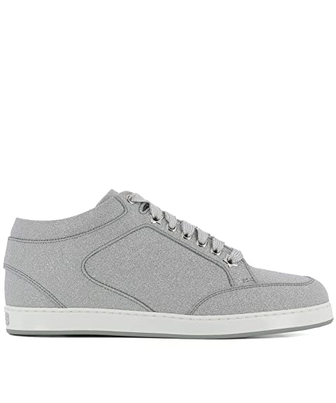 promo code 75eb8 cf891 Jimmy Choo Damen MIAMIIGTSILVER Grau Leder Sneakers: Amazon ...
