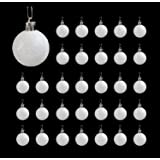 Festive Season 32pk 40mm White Snowball Christmas Tree Ball Ornaments