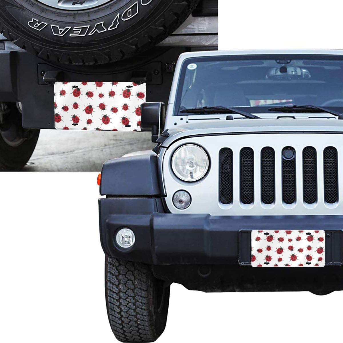 DKKFJC Front License Plate Covers Ladybug Pattern Novelty Auto Car Tag Vanity Gift Decoration
