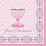 Servilletas con diseño radiante de cruz color rosa para primera comunión, paquete de 16