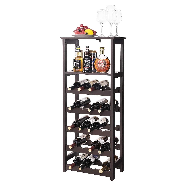 SONGMICS LWR03BR 20 Wooden Wine Rack, Free Standing Bottles Display Storage Shelf, with 2 Slatted Shelves, Espresso, ULWR03BR, Large