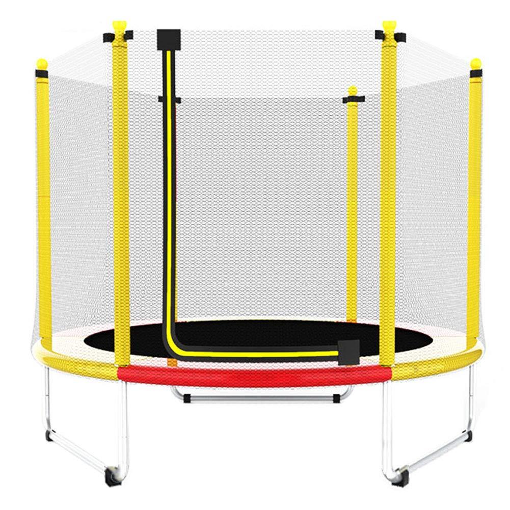 Trampolin, Kinder-Trampolin mit Sicherheitsgehäuse, Indoor- oder Outdoor-Fitness-Trampolin - Gelb - 150 cm