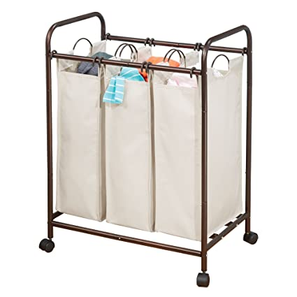 mDesign Cesta para ropa sucia con 3 compartimentos y ruedas – Práctica cesta para colada realizada