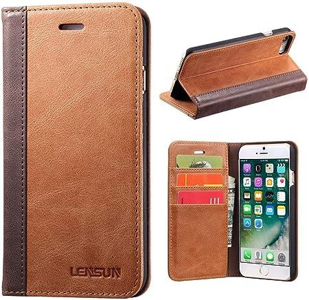 Lensun Cover iPhone SE 2020, Cover iPhone 7, Cover iPhone 8, Vera Pelle Cuoio Custodia Genuino Annata a Portafoglio con Coperchio Apribile per iPhone ...
