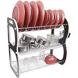 Kurtzy 3 Tier Steel Chrome Plated Durable Dish Drainer Crockery Cutlery Plates Glass Rack Organiser Holder Drip Tray LxBxH 50x28x52