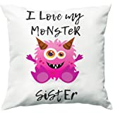 Paper Plane Design I Love My Monster Sister Quote Printed White Cushion Cover 12X12 with Filler - Gift for Rakshabandhan