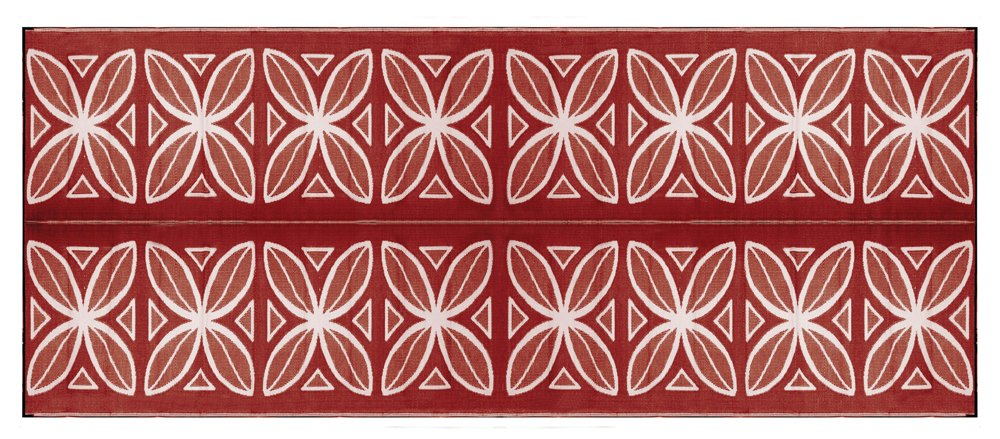 Camco Large Reversible Outdoor Patio Mat - Mold and Mildew Resistant, Easy to Clean, Perfect for Picnics, Cookouts, Camping, and The Beach (8' x 20', Burgundy Botanical Design) (42832)