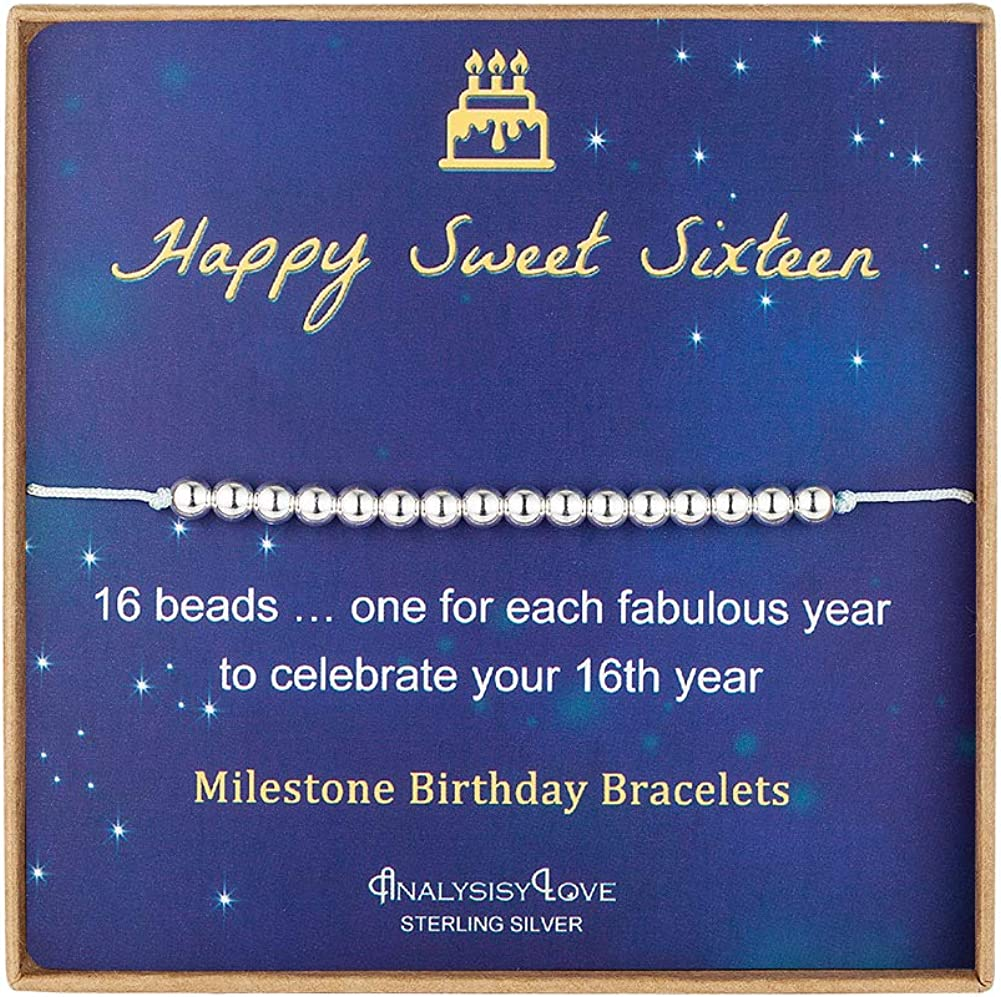 Analysisylove Sweet 16th Birthday Gifts For Girls Adjustable Jewelry Gift Ideas 16 Dainty Sterling Silver Beads Bracelet For 16 Year Old Girl Clothing Shoes Jewelry Charm