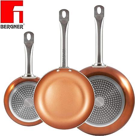 set 3 padelle in rame antiaderente Bergner Professional Chef Copper Plus