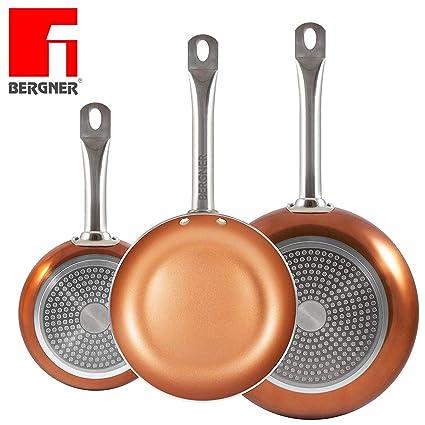 ¡Los originales Chef Copper Plus! Juego de 3 sartenes con revestimiento de cobre ultra resistente – 100% libre de PFOA – 20/24/28 cm – También aptas ...