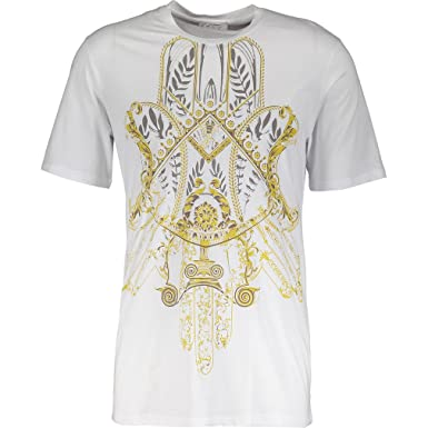 4a71afc7 VERSACE COLLECTION Girocollo Stretch Bianco Stampa Filigree Print T-Shirt  (Medium, White &