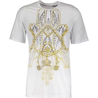 b153bf43 VERSACE COLLECTION Girocollo Stretch Bianco Stampa Filigree Print T-Shirt  (Medium, White &