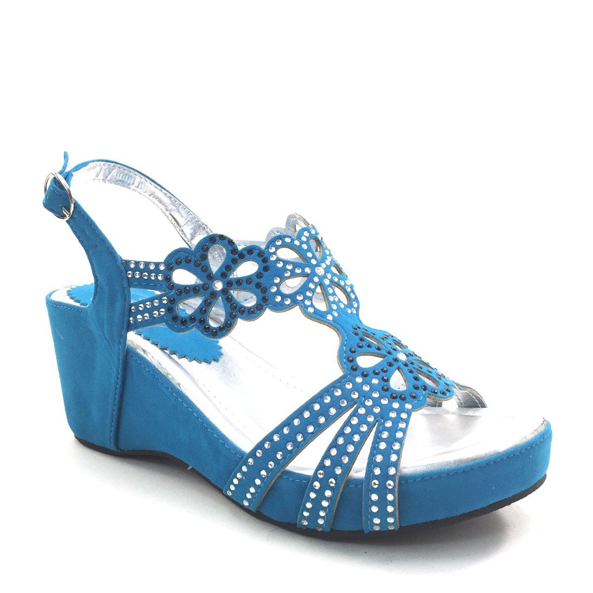 New Brieten Women's Rhinestone Flowers Strappy Wedge Platform Slingback Comfort Sandals B00IP6LMVC 5.5 B(M) US|Turquoise