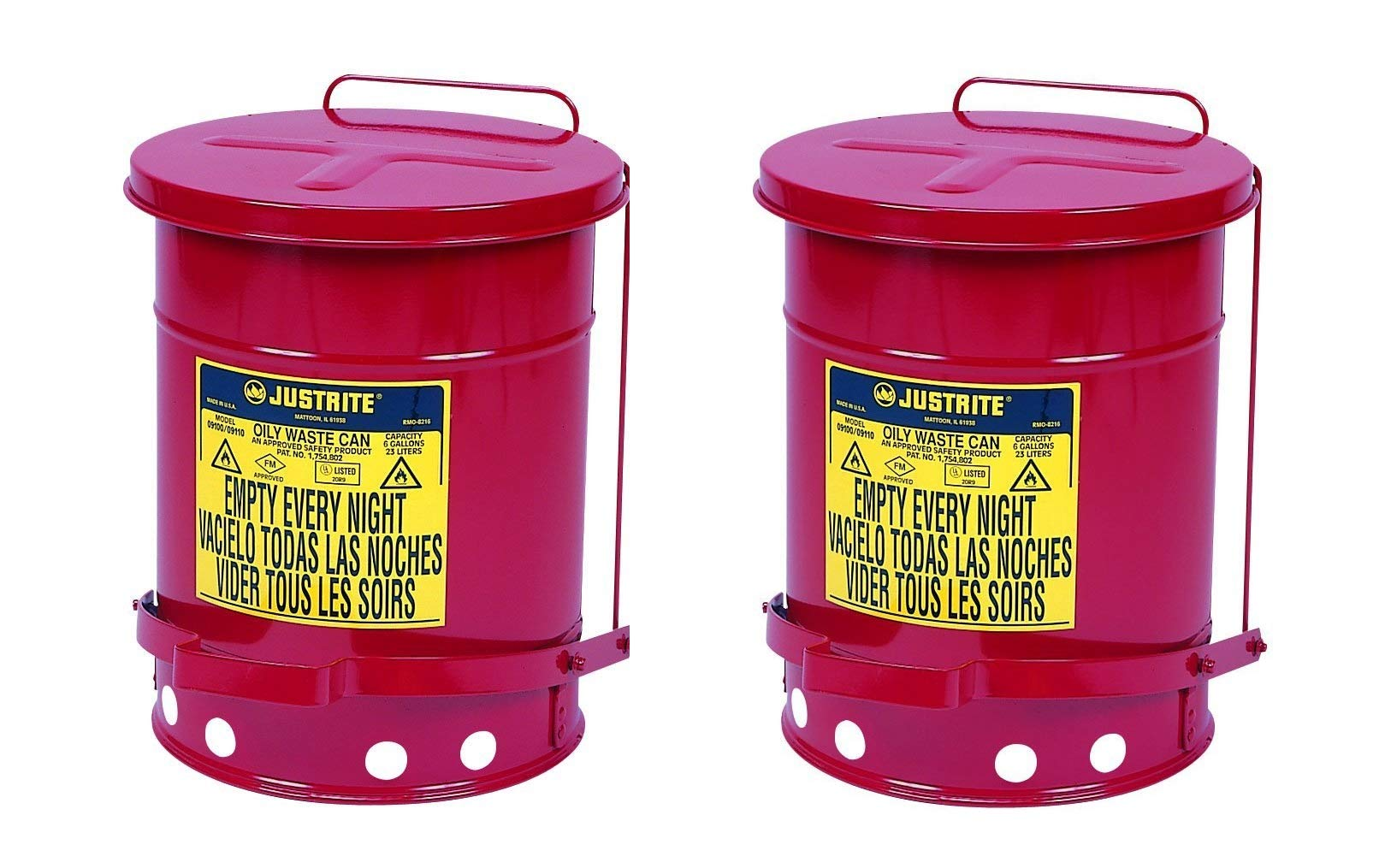 Justrite J09100 09100; Galvanized-steel; Safety cans Oily waste; Red; Foot Operated cover; Raised, ventilated Bottom; Reinforced ribs; Self-closing (Pack of 2)