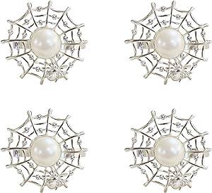 wonlex Silver Pearl Napkin Rings Set of 4, Diamond Spider Napkin Ring for Table Setting, Halloween Decorations, Table Decor, Home Decor (Silver Spider Web)
