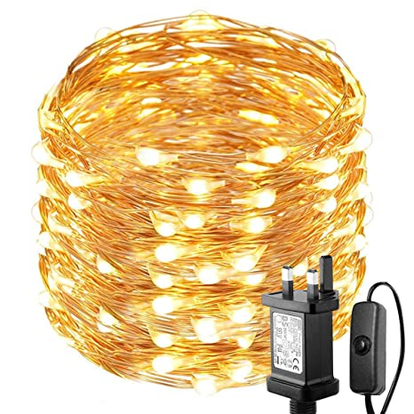 promo code 6cedf 47377 LOUX 20m 200 LED Copper Wire Lights, IP65 Waterproof Plug in Fairy Lights,  Warm White Decorative String Lights for Party, Wedding, Garden and More