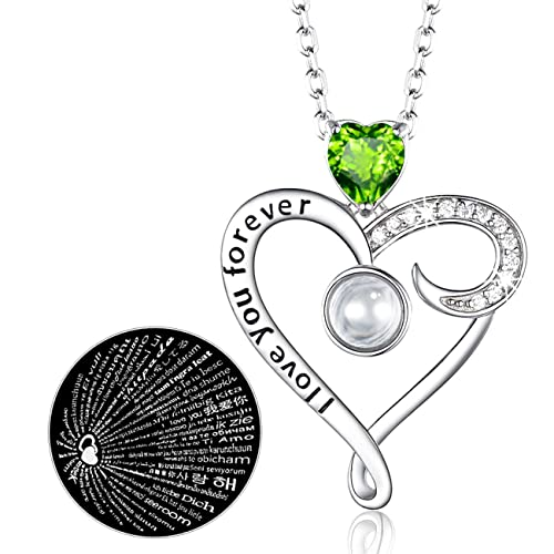 100 Languages August Birthstone Green Peridot Necklace Jewelry Sterling Silver Love Heart Necklace Birthday Gifts for Women 20 Chain