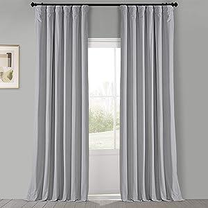 HPD Half Price Drapes VPCH-160401-96 Signature Blackout Velvet Curtain (1 Panel), 50 X 96, Reflection Grey