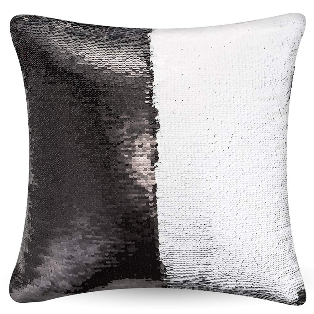 2 Pack Mermaid Sequin Pillow 16x16 inches Cover Pillow Case Flip Reversible Sequins Throw Cushion Case  (Black)