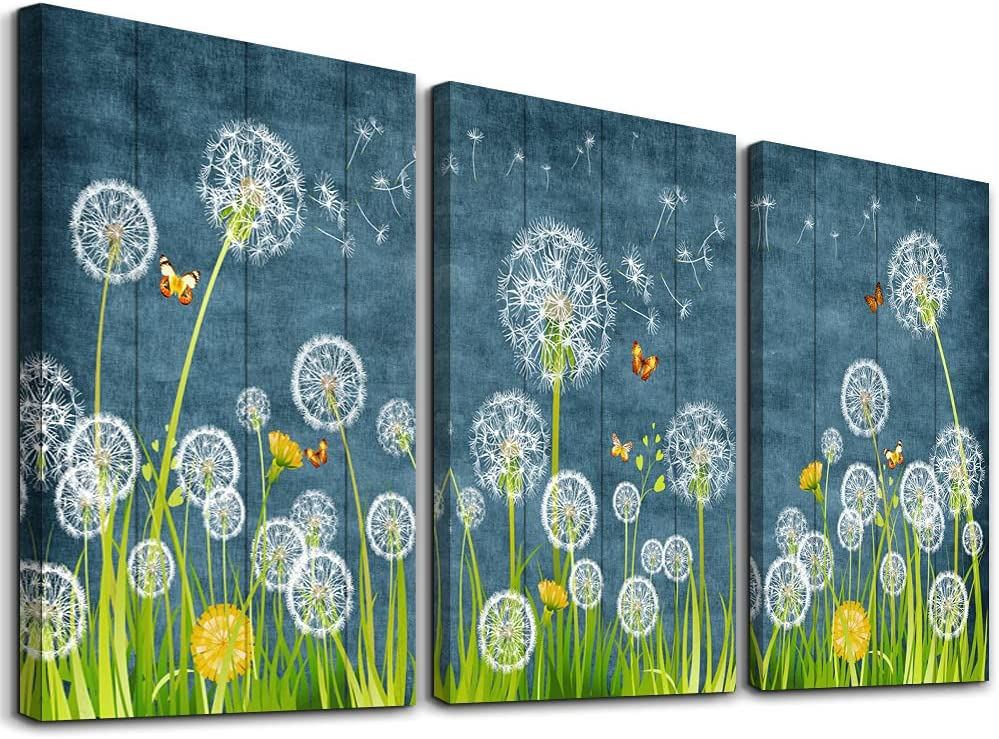 Canvas Wall Art For Living Room Family Wall Decorations For Bedroom Modern Bathroom Wall Decor Paintings Abstract White Dandelion Pictures Artwork Farmhouse Canvas Prints Kitchen Home Decor 3 Piece