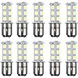 HOTSYSTEM LED Light Bulbs 1157 BAY15D P21/5W 2357 DC12V 18-5050 SMD for Car RV SUV Camper Trailer Trunk Interior Reversing Backup Tail Turn Signal Corner Parking Side Marker Lights(White,Pack of 10)