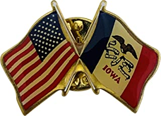 product image for Gettysburg Flag Works Set of 3 Iowa & U.S. Crossed Flags Double Waving Friendship Lapel Pin - Made in The USA