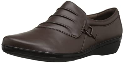 CLARKS Women's Everlay Heidi Slip-on Loafer, Dark Brown Leather, ...