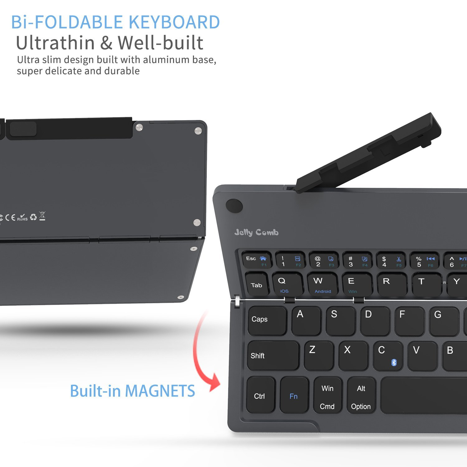 Foldable Bluetooth Keyboard, Jelly Comb B028 Portable Folding Rechargeable Bluetooth Keyboard with Built-in Stand for Android iOS Tablet Smartphone Windows and More-(Dark Grey) by Jelly Comb (Image #4)