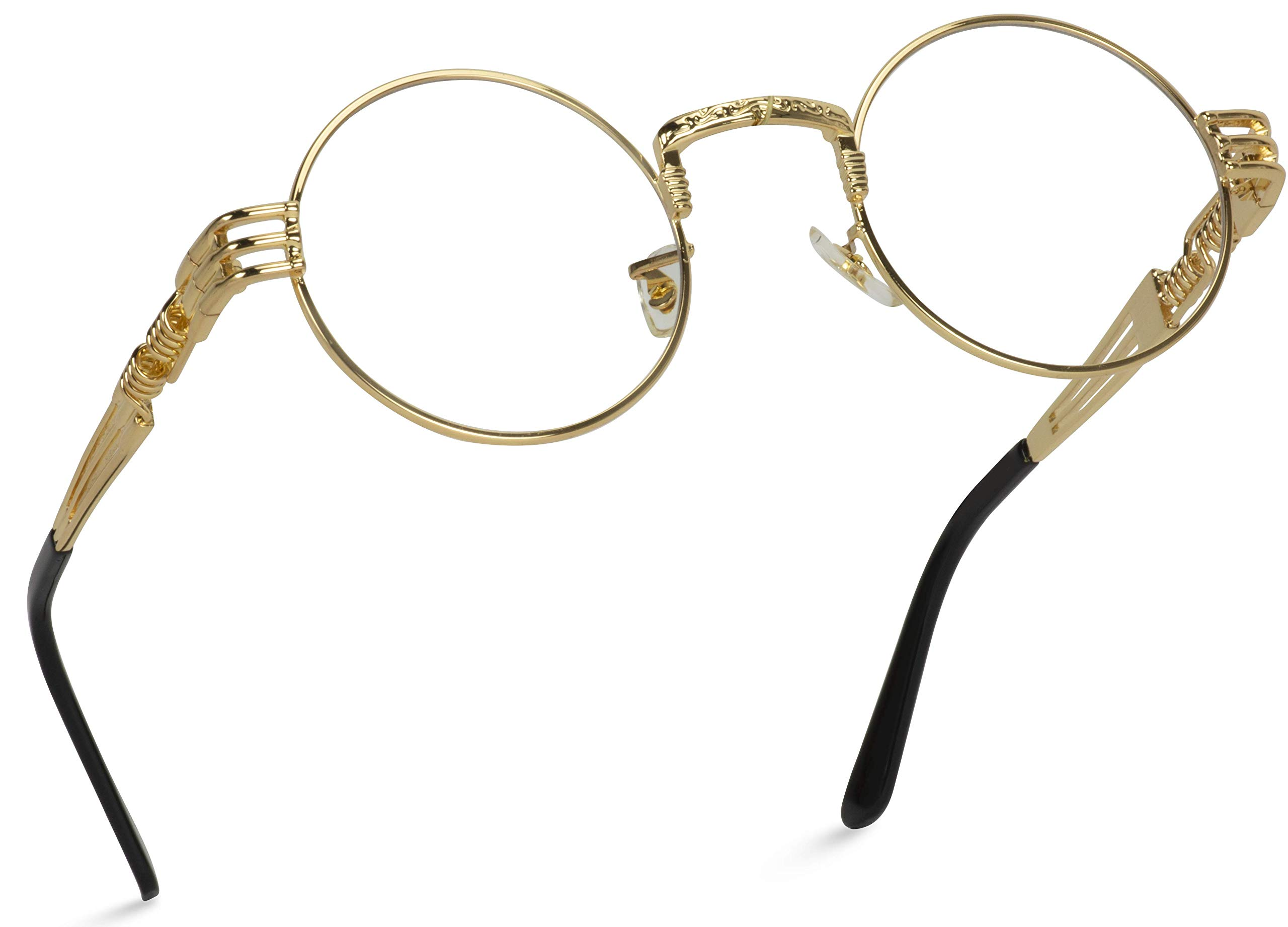 WearMe Pro - Metal Steampunk Frame Retro Round Clear Lens Glasses by WearMe Pro