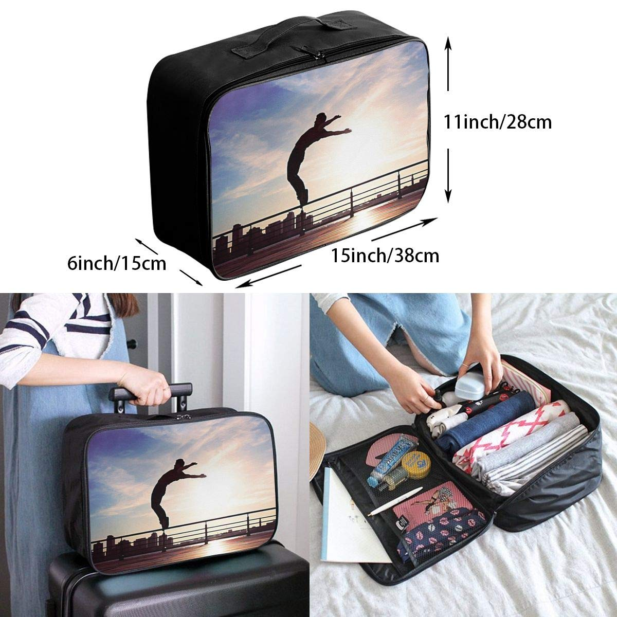 Travel Luggage Duffle Bag Lightweight Portable Handbag Parkour Large Capacity Waterproof Foldable Storage Tote