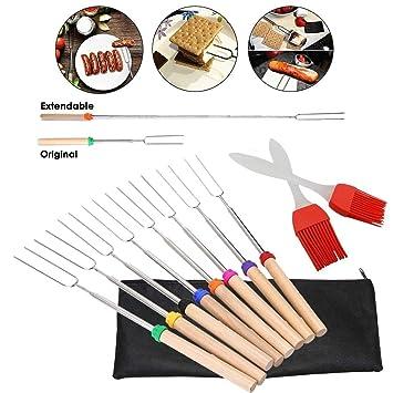 JJPRIME Marshmallow asas telescópicas para asar, cepillo de dientes de silicona y bolsa de transporte