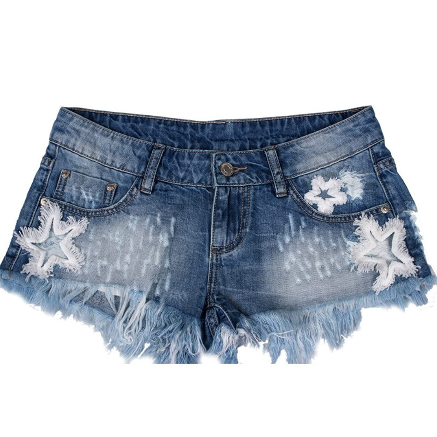 2017 Summer Fashion Star Patch Embroidered Women Denim Shorts Tassels Low Waist Skinny Sexy Jeans