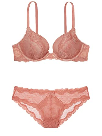60f9389da0 Image Unavailable. Image not available for. Color  Victoria s Secret Dream  Angels Sedona Rose Retro Romance Lace Embellished Demi Bra Set ...