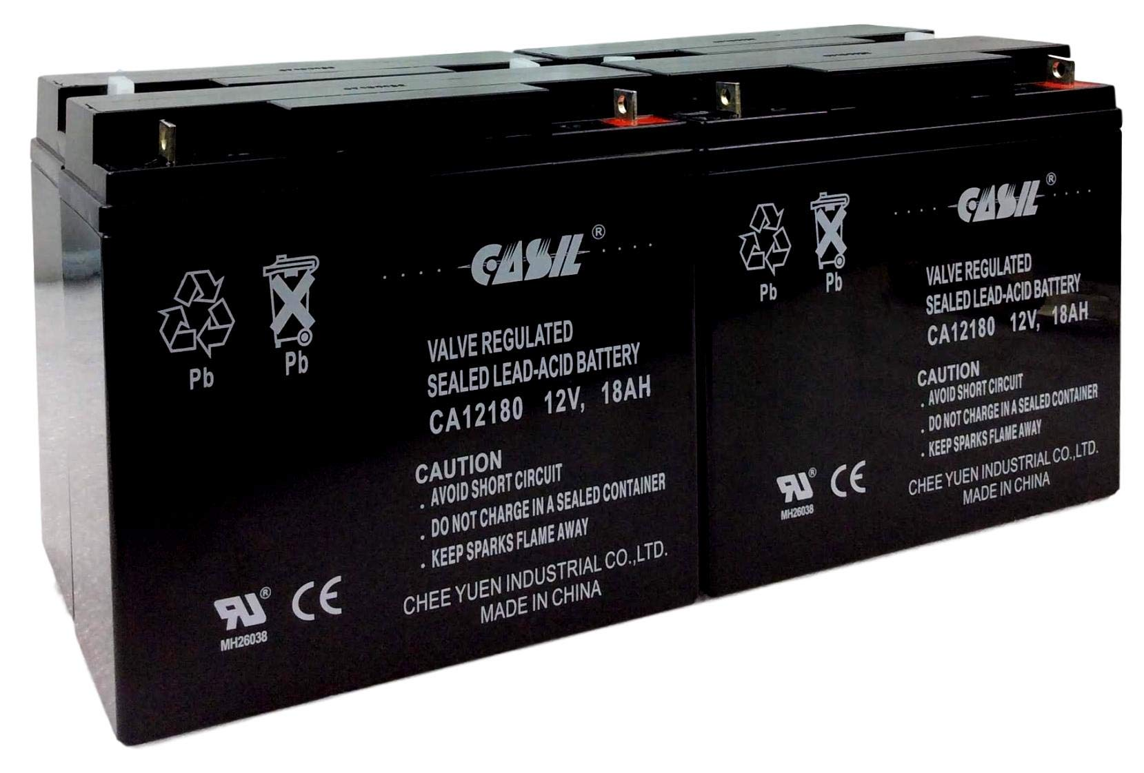 2 Pack 12V 18AH CA12180 Casil Rechargeable Battery