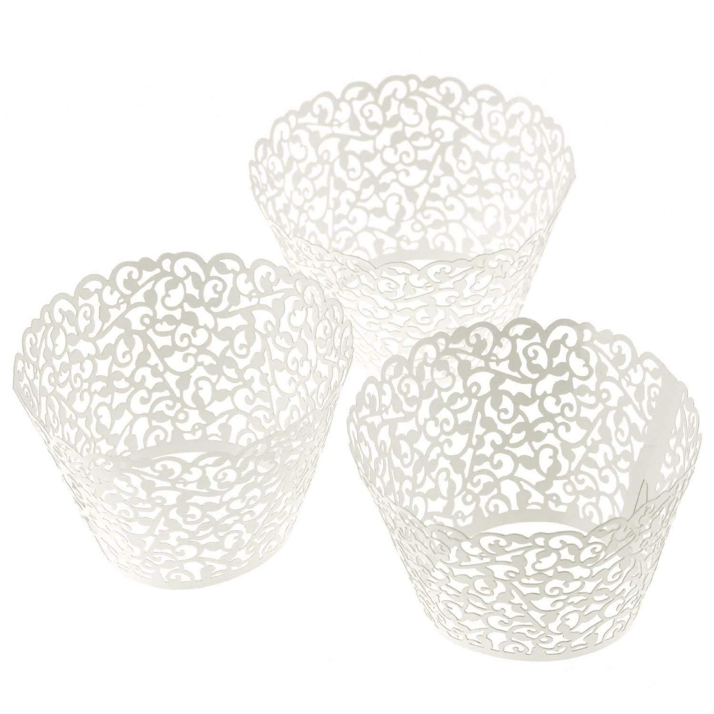 ELENKER 120pcs Cupcake Wrapper Lace Laser Cut Filigree Cupcake Wraps Liner Baking Cup