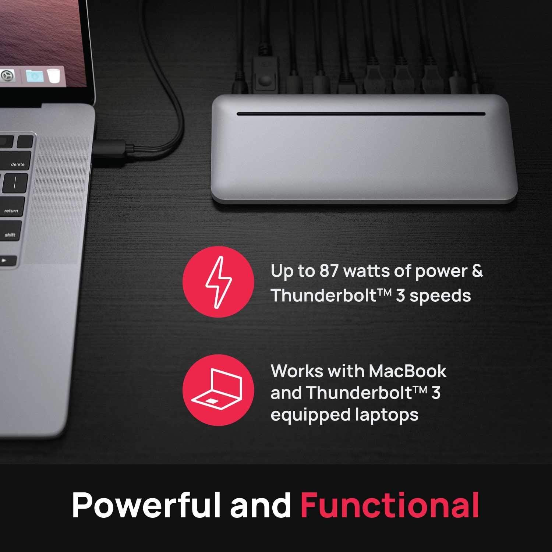 Brydge Stone Pro Multiport Hub MacOS /& Windows 4K @ 60 Hz Dual Displays Thunderbolt/™ 3 USB-A /& More USB-C 3.1 Gen 2 87 W DisplayPort
