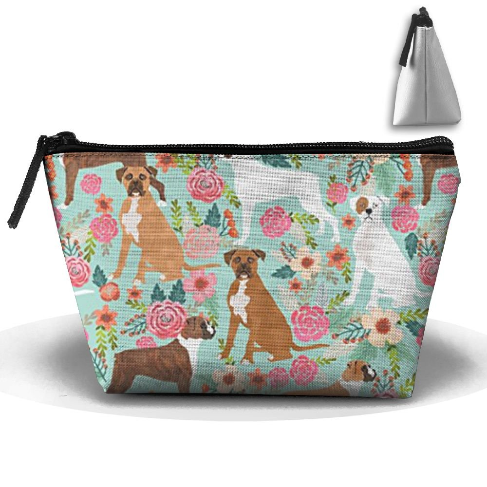 Boxer Dog Flowers Florals Mint Cute Flowers Trendy Toiletry Bag-Portable Travel Organizer Cosmetic Make Up Bag Case For Women Men Shaving Kit With Hanging Hook