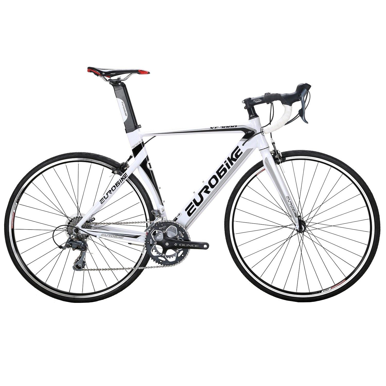 EUROBIKE XC7000 ロードバイク 700C 16Sハンドル変速 2018 钳形ブレーキ通勤通学 アルミフレーム 自転車 B078X3VGD7 ホワイト ホワイト