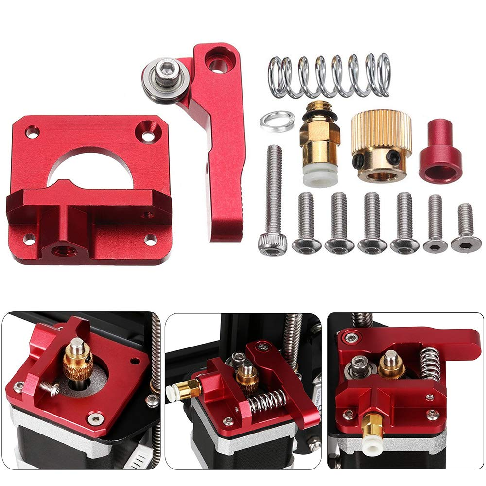 MK8 Extrusor de repuesto actualizado, Vibury aluminio MK8 Drive Feed 3D impresora extrusores 1.75mm Filament para Creality Ender 3/3 Pro CR-10, CR-10S, CR-10 S4, CR-10 S5 Mano derecha
