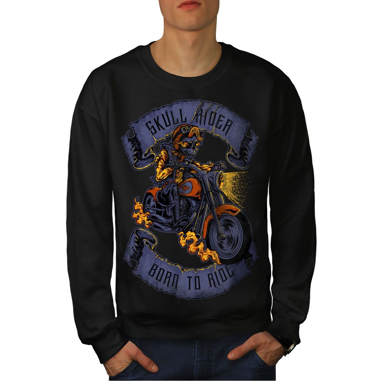 wellcoda Ride Skull Moto Mens Sweatshirt Motorcycle Casual Jumper