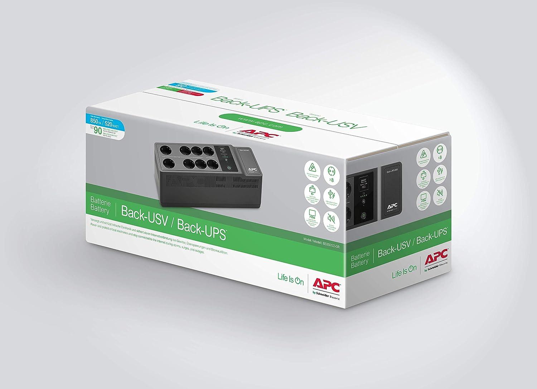 BE650G2-SP SAI de 650VA con 8 tomas schuko, y con un puerto de carga USB A APC Back-UPS ES