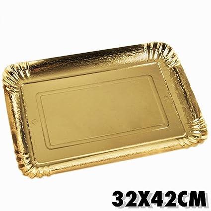 TrAdE shop Traesio Juego 5 Unidades. Bandejas Puerta Menos Tarta 32 x 42 cm Dorado