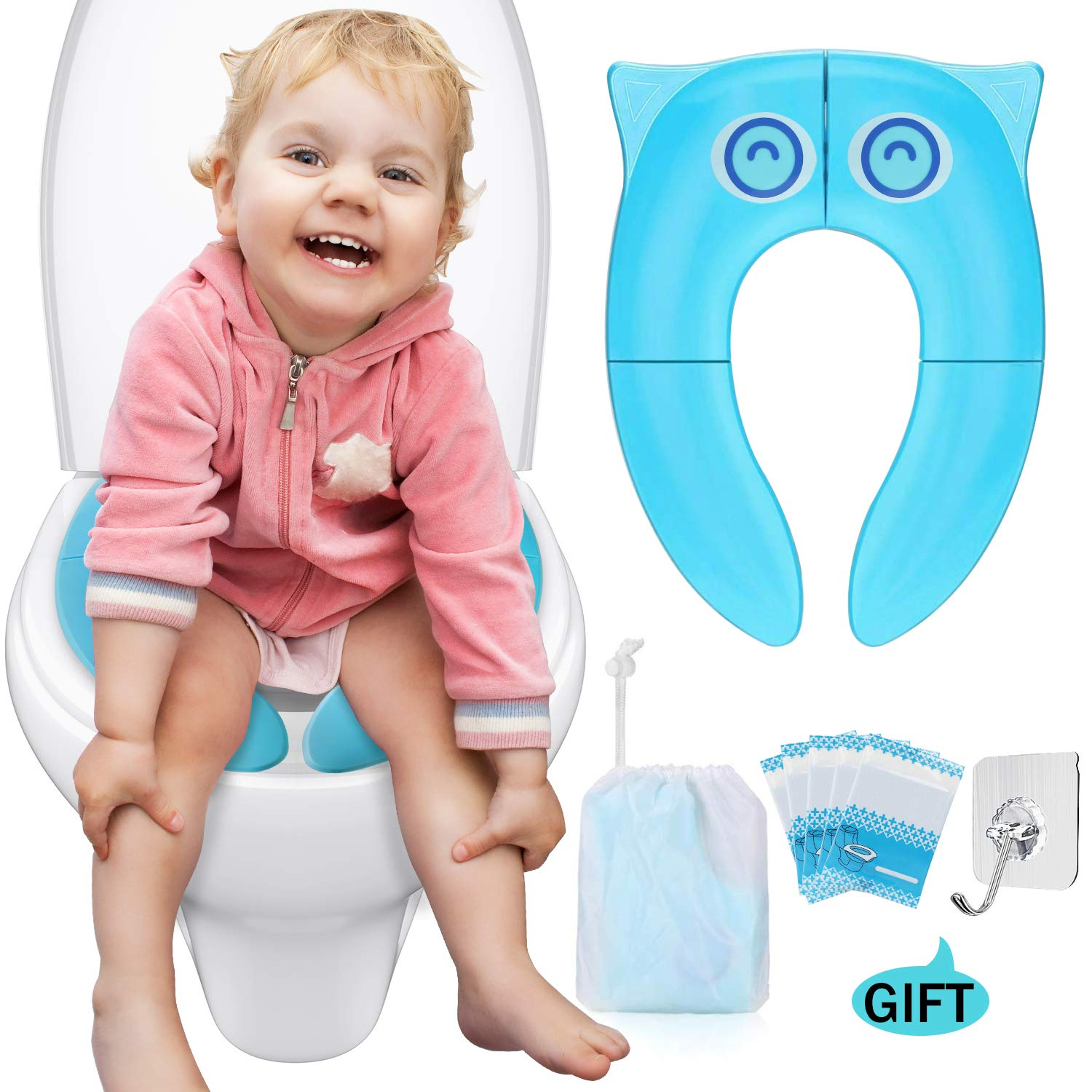 Torlam Folding Reusable Toilet Training Seat, Portable Travel Potty Seat Covers with Carry Bag, Upgrade Large Effectual Non Slip Silicone Pads for Babies, Kids and Toddlers (Blue)