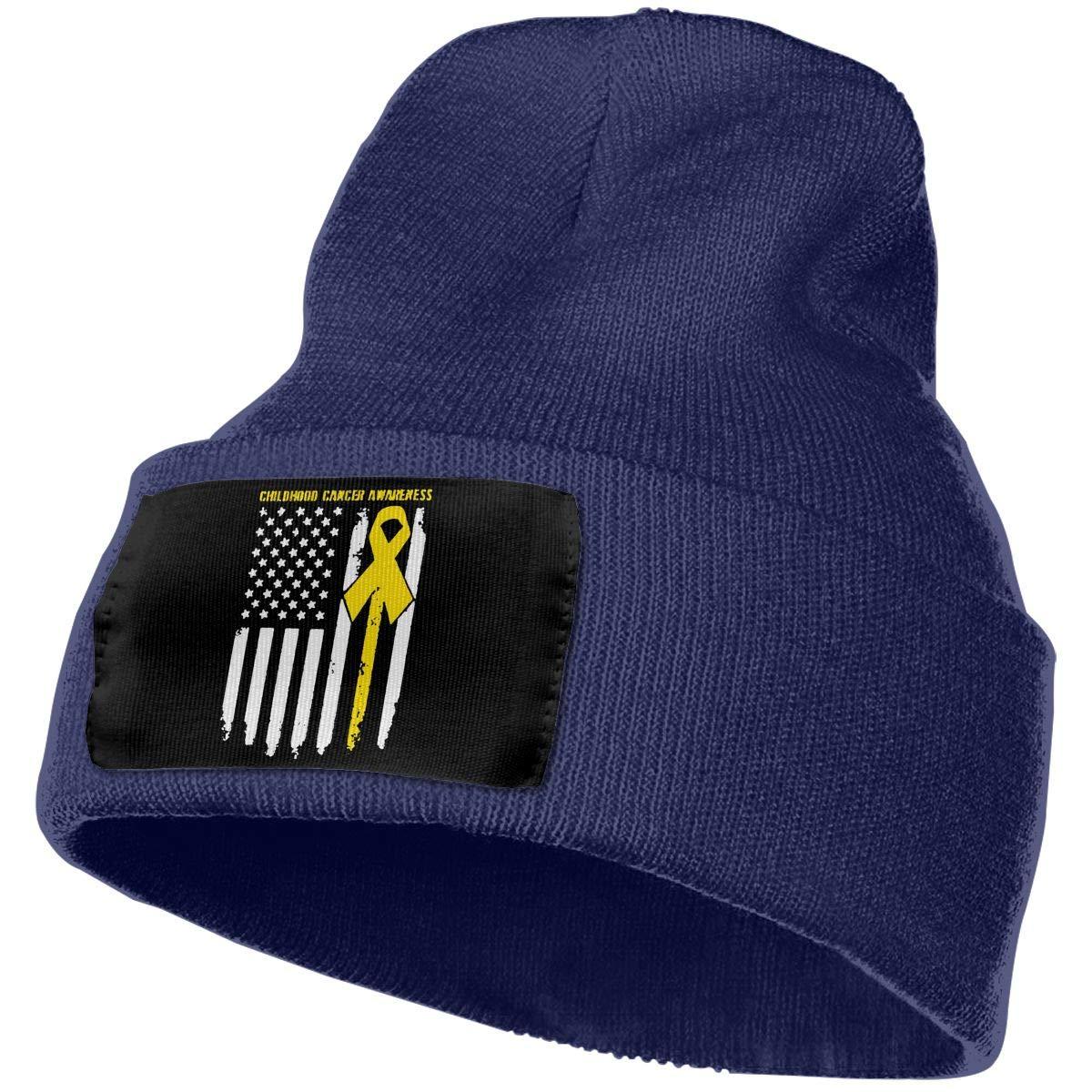DFKD JKFD Unisex 3D Knitted Hat Skull Hat Beanie Cap Childhood Cancer Awareness