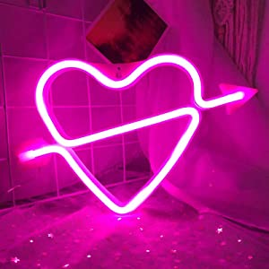 Cupid Love Heart Neon Signs for Wall Decor,USB or Battery Decor Light,Neon Light for Bedroom,Decorative LED Neon Sign for Christmas,Party,Girls Living Room (Cupid-Pink)